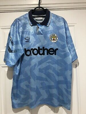 1991-93 Manchester City Home Shirt - Large
