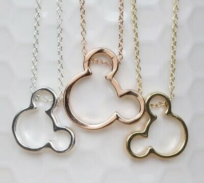 Disney Inspired Necklace & Pendant Set Mickey Minnie Mouse Jewellery & Gift Bag