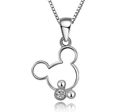 Disney Jewellery 925 Silver Necklace and Pendant Mickey Minnie Mouse & Gift Bag