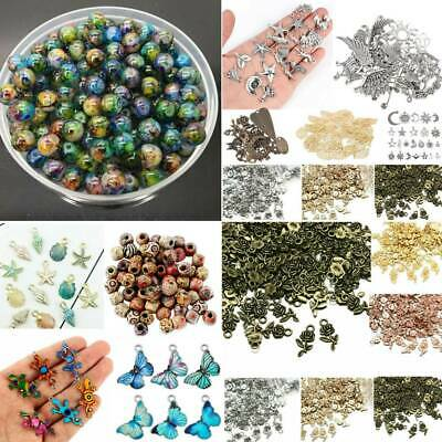 Wholesale 100pcs Mixed Vintage Silver Bronze Metal Charms Beads Jewelry Making