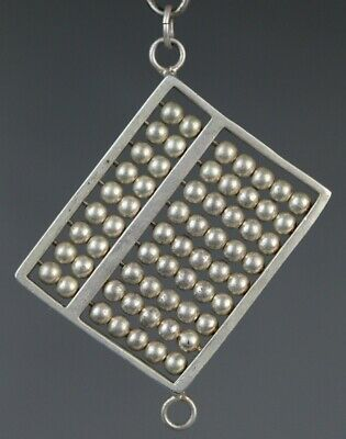 Tribal exotic ethnic chinese handmade miao silver abacus pendant