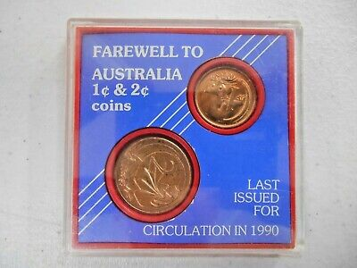 Farewell to Australia 1 Cent & 2 Cent Coins Sealed In Original Plastic CASE