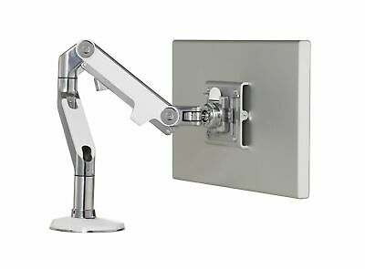 Humanscale M8 Single Monitor Arm Polished Aluminium with White accents.