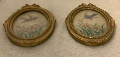 """Pair Of Vintage Pettipoint Oval Framed Pictures Of Bird & Flowers, 5.5"""" X 6.5"""""""