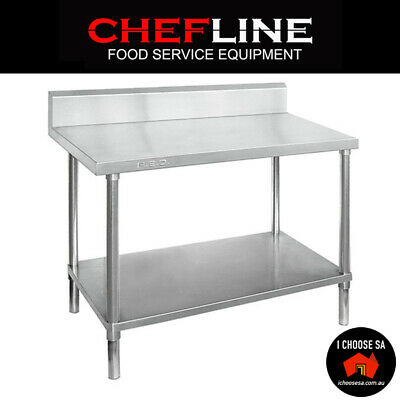 Stainless Steel Commercial Splashback Kitchen Work Bench Food Catering Table