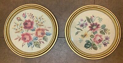 """Pair Of Vintage Needlepoint Round Wooden Framed Pictures Of Flowers, 12"""" Dia."""