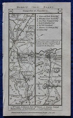 Original antique road map GLOUCESTERSHIRE, BERKSHIRE, CIRENCESTER, Paterson 1785
