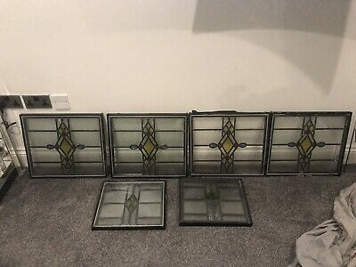 Vintage Stained Glass Painted Panels from Old Leaded Window 6 Of
