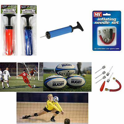 Fast Inflating Hand Air Pump With Needle Adapter For Ball Football Sports GR