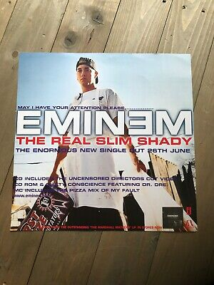 EMINEM THE REAL Slim Shady ❤ song lyrics typography poster