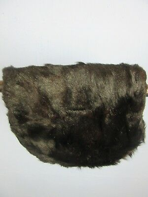 "VINTAGE RETRO BLACK FAUX FUR HAND MUFF FULLY LINED WIDTH 10"" LENGTH 9"" m3"