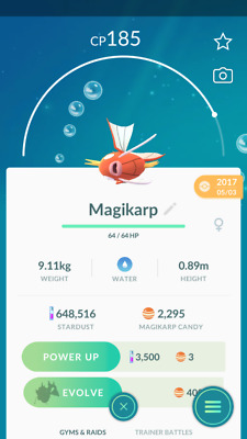 Pokemon Go account Level 30 - 600K+ Dust - 2300 magikarp Candies