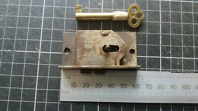 Antique Brass-Steel Cupboard-Cabinet drawer- lock  60mm -1 Key  (504)