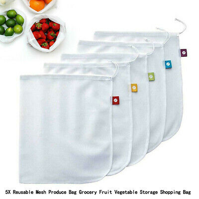 5 Reusable Mesh Produce Bag Grocery Fruta Vegetal Almacenamiento Bolsa SG