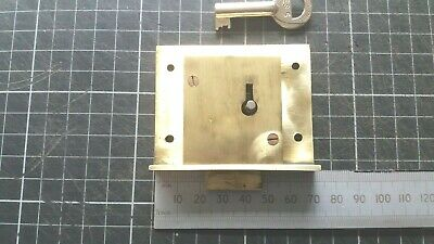 Vintage Brass Cupboard-Cabinet drawer- lock  70mm -1 Key  (507)