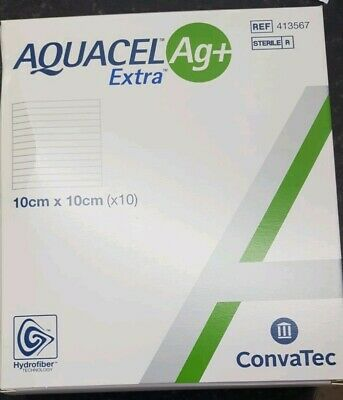 Aquacel AG+ Extra Enhanced Hydrofibre Dressing 10 x 10 cm (x10)