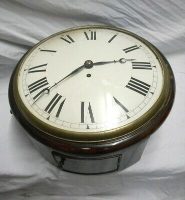 """Antique Early Victorian 12"""" Convex Dial Fusee Wall Clock"""