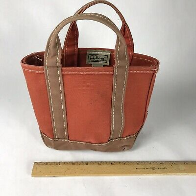 Surprising Vintage Ll Bean Boat And Tote Mini Brown And Orange Canvas Beatyapartments Chair Design Images Beatyapartmentscom