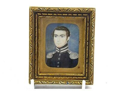 Antique 19th century portrait miniature painting military officer gentleman