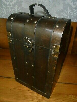 Vintage Wooden And Brass Double Wine Box Carrier