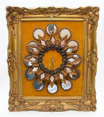 Vintage Art Wall Clock Gold Gilt Frame Ornate Mirror Hollywood Regency