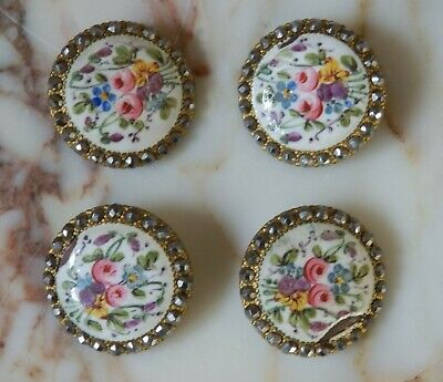 A Set Of Four Antique French Hand Painted Enamel & Cut Steel Buttons