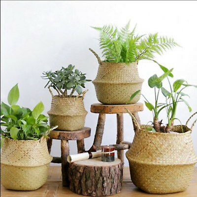 Seagrass Belly Basket Storage Plant Pot Foldable Nursery Laundry Bag Room~GN