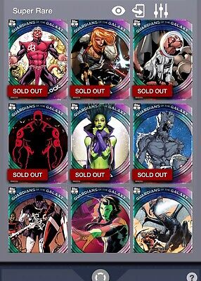 Topps Marvel Collect Guardians of the Galaxy 1st and 2nd Print sets w/all Awards