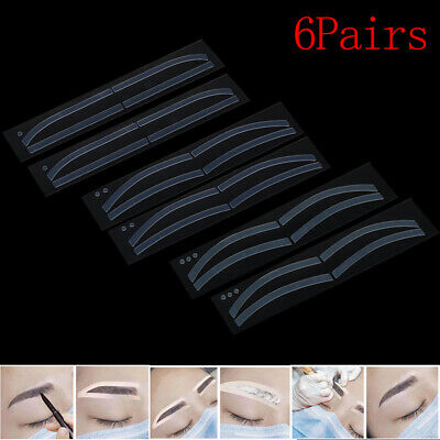 6Pair Disposable Eyebrow Tattoo Shape Sticker Auxiliary Template Brow Stencil~GN
