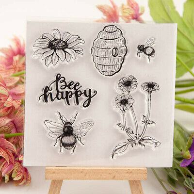 Happy Bee and flower honeycomb Silicone Stamp DIY Scrapbooking Photo Album ~GN