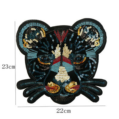 leopard head sequin embroidered fashion applique sew on patch diy clothe~GN