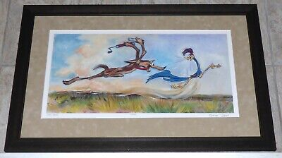 Chuck Jones Wile E Coyote Roadrunner The Chase Framed Limited Edition Giclee