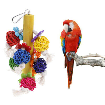 Parrot Bird Chewing Toys Natural Rattan Ball Cage Toy Preening ~GN