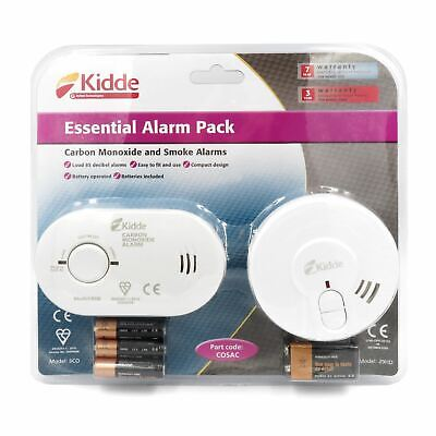 Kidde 5CO Carbon Monoxide Alarm + 29HD Smoke Fire Detector Pack Battery Operated