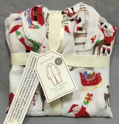 Pottery Barn Kids Jolly Santa Loose Fit Flannel Pajamas Size 4
