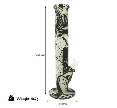 """14"""" Snake Glow In The Dark Silicone Water Bong Hookah Smoking Pipe W/14MM Joint"""