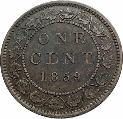 1859 CANADA British UK Queen VICTORIA Wreath Genuine Antique Cent Coin i80270