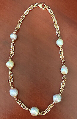 """Honora Sterling Silver 11.00mm Cultured Pearl White Ming 18/"""" Necklace QVC"""