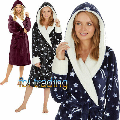 WOMENS ladies dressing gown robe fleece NEW