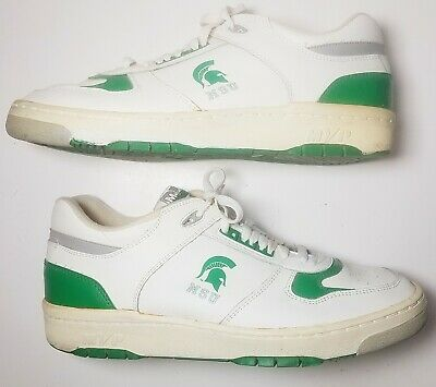 Michigan State Univ Spartans Nation Shoes MSU Sneakers Logo White Green ~ Sz 12