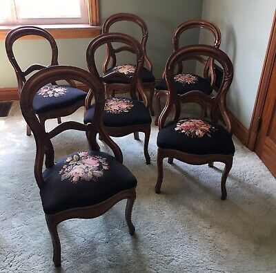 Antique Dining Room Chairs With Needlepoint Seats — Set Of 6