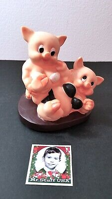Mr.STUFF HOLIDAY Sale!   VINTAGE (2) PIGS in BIKINIS Playing Together - FUN GIFT