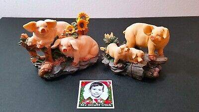 Mr.STUFF HOLIDAY Sale! Family of PIGS (5) posing with Flowers & Tree Stumps NICE