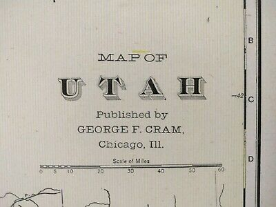 "Vintage 1902 UTAH Atlas Map 14""x22"" Old Antique Original SALT LAKE SANDY OGDEN"