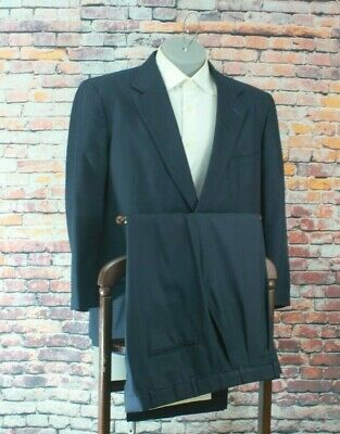"Stafford Mens Navy Striped 2 Btn Wool Suit 44S Pleated Fronts 39"" Waist"