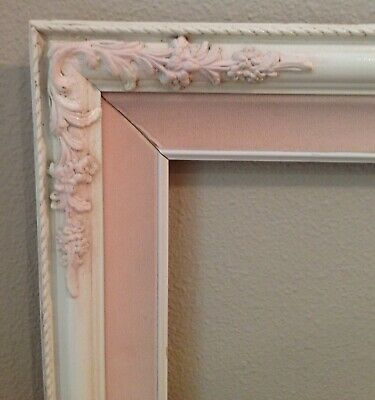 "Vintage Wooden Picture Frame Ornate Corners Shabby Chic 25.5"" x 21.5"" Pink White"