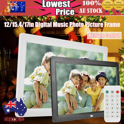 12/15.4/17in Electronic Digital Photo Music Picture Frame Album Remote Control
