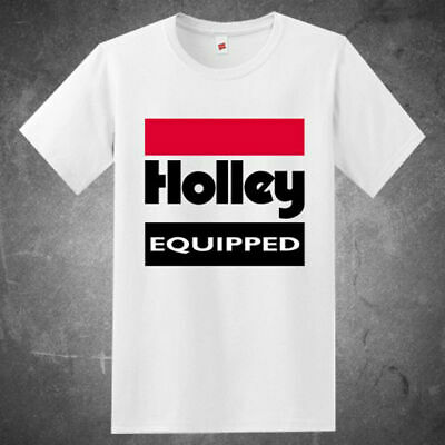 New Holley Equipped Performace Racing Logo Men's White T shirt S-5XL