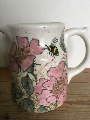 Jenny Bell hand painted embossed dog rose & bee 2 pint ceramic large jug