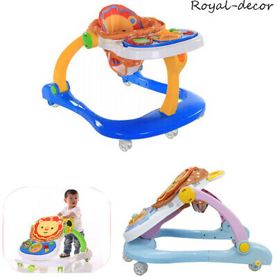 4 in1 Baby Push Walker Musical Play Toys Feed Sit Station Mobility Rollator Ride